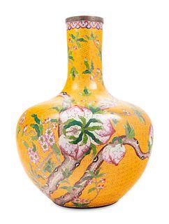 Three Large Chinese Yellow Ground Cloisonne Enamel Vases, Tianqiuping