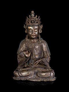 A Chinese Bronze Guanyin