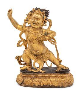 A Sino-Tibetan Gilt Figure of A Mahakala