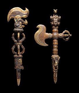 Two Tibetan Gilt Bronze Ritual Daggers
