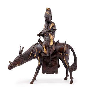 A Large Japanese Parcel Gilt Bronze Figural-Form Incense Burner