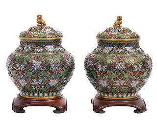 Pr. Chinese Cloissone Ginger Jars with Wood Bases