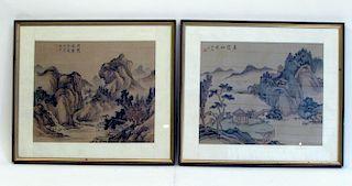 Watercolors On Silk, Chinese Scene