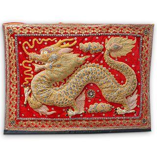 Burmese Dragon Kalaga Embroidered Tapestry