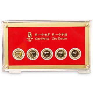 18K Gold Beijing 2008 Olympics Five Medallion Coins Set
