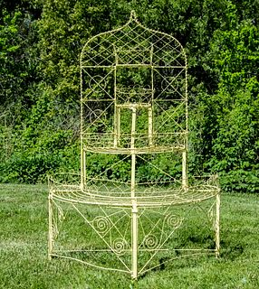 19TH C. FRENCH WIREWORK TIERED POTTED FLOWER DISPLAY