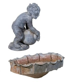 (2 PC) LEAD GARDEN PUTTO WITH SEPARATE LEAD BASIN