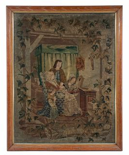 FRAMED FRENCH WOOLWORK TAPESTRY