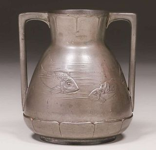 Kayserzinn Pewter Two-Handle Vase c1910