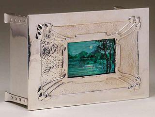 Archibald Knox Influenced Silver-Plated & Enamel Box c1905