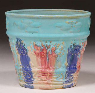 Hull Pottery Early Art Stoneware Multi-Colored Flower Pot c1920s