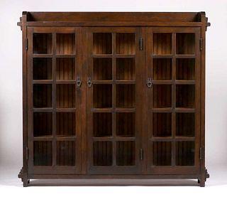 California Arts & Crafts Douglas Fir Three-Door Bookcase c1910