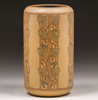 Large Marblehead Pottery Grapevine Decorated Vase c1910