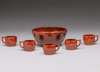 Roycroft Punch Bowl & Mug Set 1920s