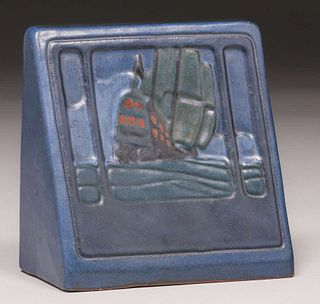 Marblehead Pottery Decorated Bookend c1910
