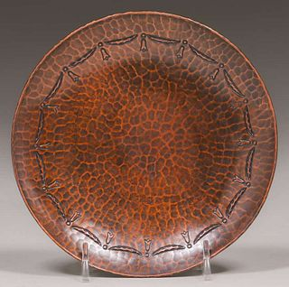 Roycroft Hammered Copper Card Tray c1920s