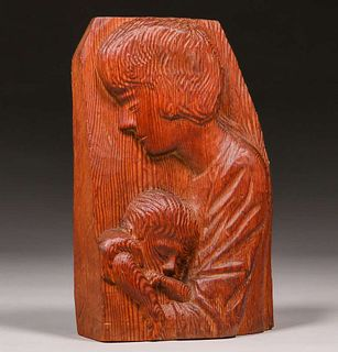California Redwood Hand-Carved WPA era Mirror c1930s