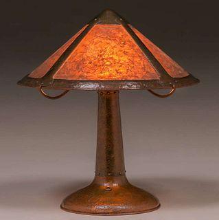 Early John L. Wilocx - Russian Copper Shop Hammered Copper & Mica Lamp c1910