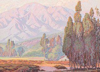 Fred Grayson Sayre Serigraph San Gabriel Mountains c1910s