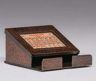 Roycroft Hammered Copper Desk Calendar c1920s
