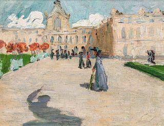 Parisian Street Scene Painting c1900