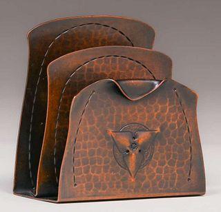 Roycroft Hammered Copper Trifoil Letter Rack c1920s