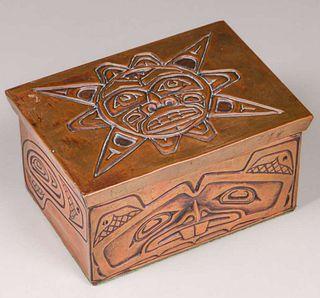 Northwest Coast Copper & Wood Box c1920s