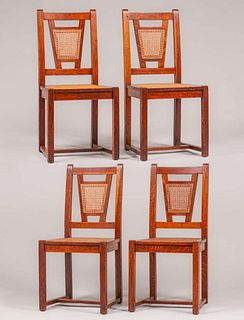 Set of 4 Stickley Brothers Cane-Back Chairs c1915