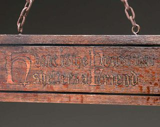 """""""Home is the House That Shelters a Friend"""" Oak Sign c1910"""