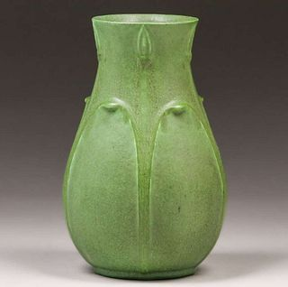Grueby Pottery Matte Green Vase c1905