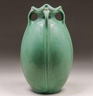 Radford Radura Matte Green Four-Handled Vase c1910