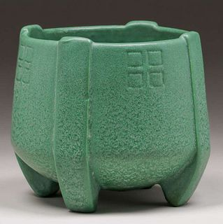 Weller Pottery Matte Green Buttress Jardiniere c1910