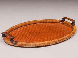 Dirk van Erp Hammered Copper Warty Handle Japanese Hand-Woven Basket Tray c1917-1920