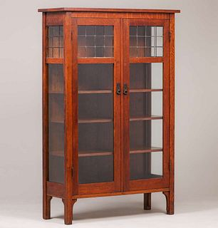 L&JG Stickley Leaded Glass Two-Door China Cabinet c1910