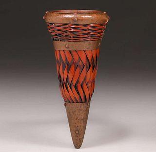 Dirk van Erp Hammered Copper Trimmed Conical Japanese Basket c1917-1920
