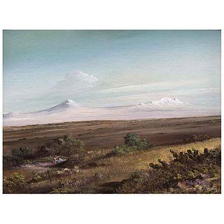 CARLOS PELESTOR, Sin título, Firmado, Óleo sobre masonite, 29.5 x 39.5 cm