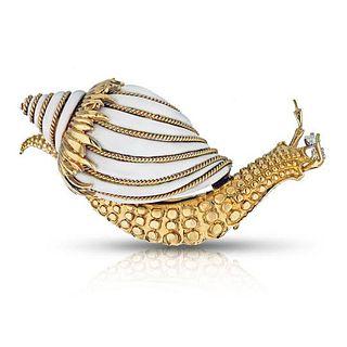 DAVID WEBB SNAIL 18K YELLOW GOLD WHITE ENAMEL