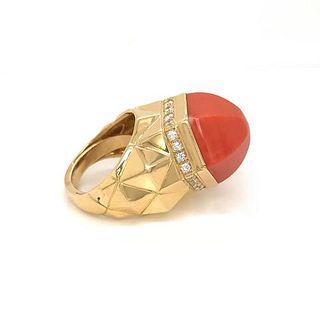TIFFANY & CO. 18K YELLOW GOLD CORAL DIAMOND RING