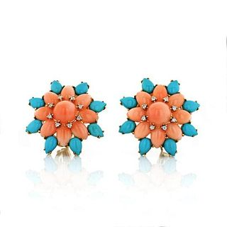FLOWER 18K YELLOW GOLD CORAL, TURQUOISE AN DIAMOND