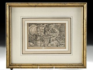 Framed 16th C German Woodblock, Arion Sings to Dolphins