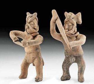 Two Colima Pottery Warrior Figures w/ Weapons