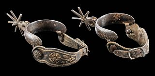 Late 19th C. Mexican Steel, Leather, & Silver Spurs