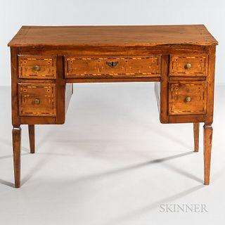 Italian Neoclassical Inlaid Fruitwood Desk
