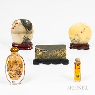 Two Chinese Interior-painted Snuff Bottles and Three Desktop Viewing Stones