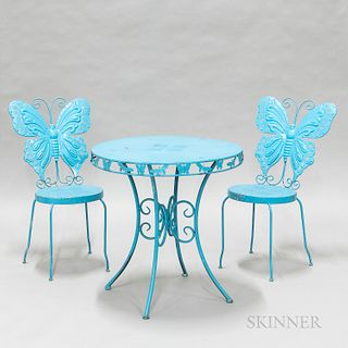 Contemporary Blue-painted Metal Butterfly Bistro Table and Two Matching Side Chairs