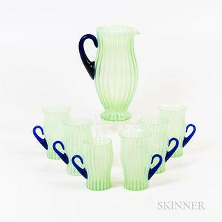 Seven-piece Fenton Glass Lemonade Set