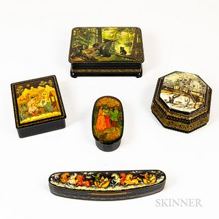 Five Russian Lacquered Boxes
