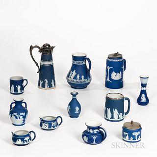 Twelve Wedgwood Dark Blue Jasper Items