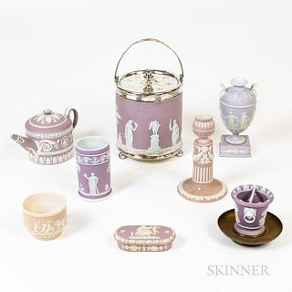 Eight Pieces of Wedgwood Lilac Jasperware