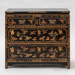 Chinese Lacquered Hardwood Four-drawer Chest